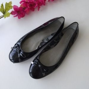 Coach Black Patent Leather Flats Size 9